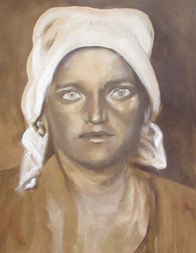 """Ruthenian Woman"", acrylic on paper, 17x22"", 2017"