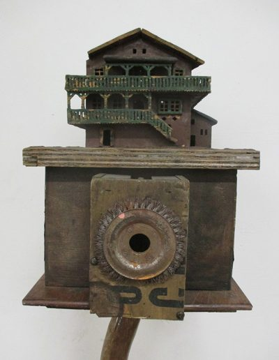 """Baba Yaga House"", mixed media, 12x12x40"", 2012"