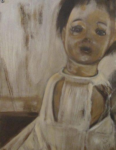 """Composite Doll"", acrylc on masonite, 18x24"", 2018"