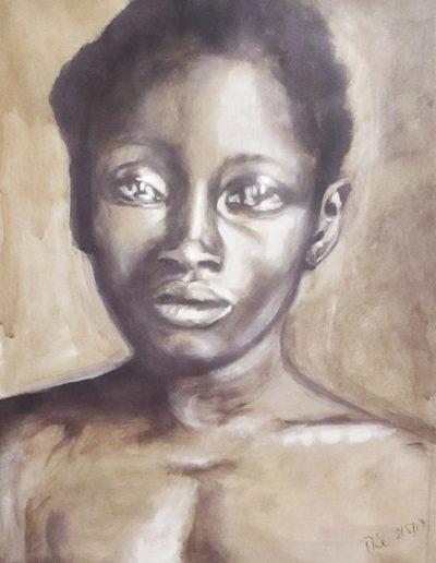 """""""Delia"""", acrylic on paper, 17x22"""", 2017"""