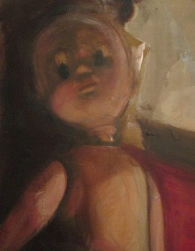 """Doll"", acrylic on eucaboard, 18x24"" (detail), 2017"