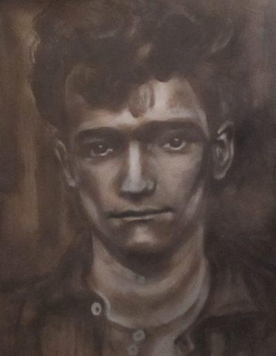 """German Man"", acrylic on paper, 17x22"", 2017"