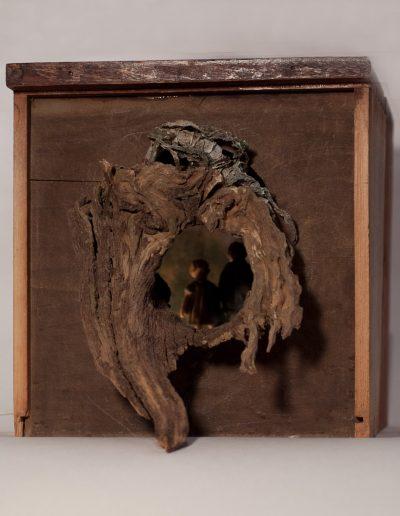 """""""Hänsel & Gretel"""", inside box view, mixed media, 12x12x12"""", 2009"""