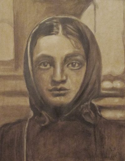 """Russian Jewish Girl"", acrylic on paper, 17x22"", 2017"