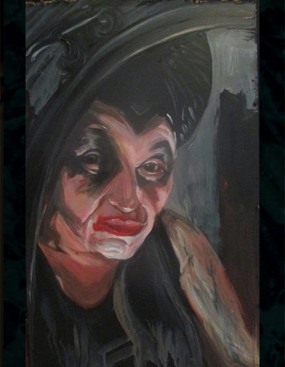 """Self As Maleficent"", acrylic on masonite, 22x30"", 2018"