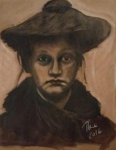"""""""Vintage Mugshot"""", acrylic on paper, 16x24"""", 2016"""