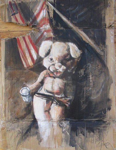 """""""Patriotic Bunny"""", acrylic on cardbord, 20x28"""", 2017"""