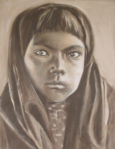 """""""Qahatika Girl"""", acrylic on paper, 17x22"""", 2017"""