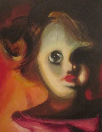 """""""Red Doll"""", acrylic on canvas, 20x26"""", 2018"""
