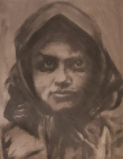 """""""Gypsy Woman"""", acrylic on paper, 17x22"""", 2017"""