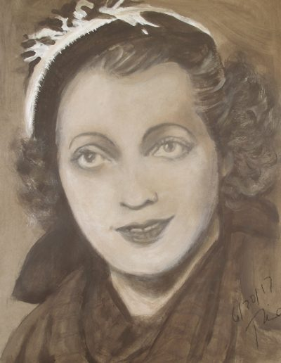 """""""Mary Anne MacLeod (Trump)"""", acrylic on paper, """"17x22"""", 2017"""