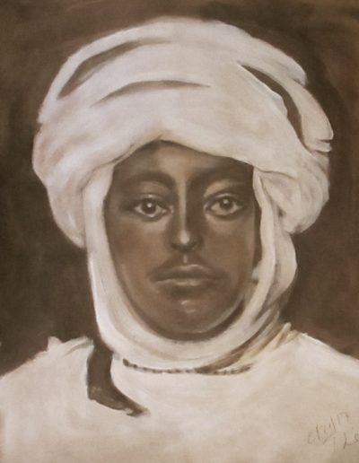 """Tunesian Man"", acrylic on paper, 17x22"", 2017"
