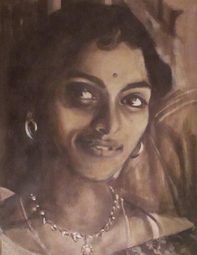 """""""Vatsala Narayan"""", acrylic on paper, 17x22"""", 2017"""