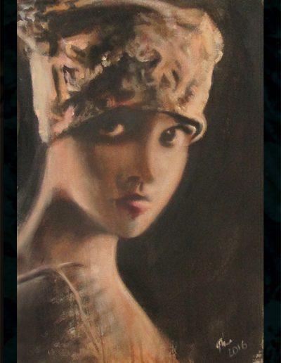 """Ziegfeld Girl"", acrylic on canvas, 18x26"", 2016"
