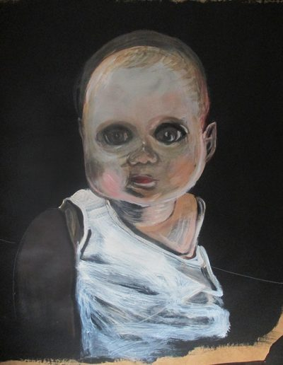"""""""Baby Doll"""", acrylic on paper, 30x38"""", 2018"""