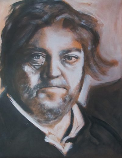 """Steve Bannon"", acrylic on Kraft paper, 17x22"", 2017"