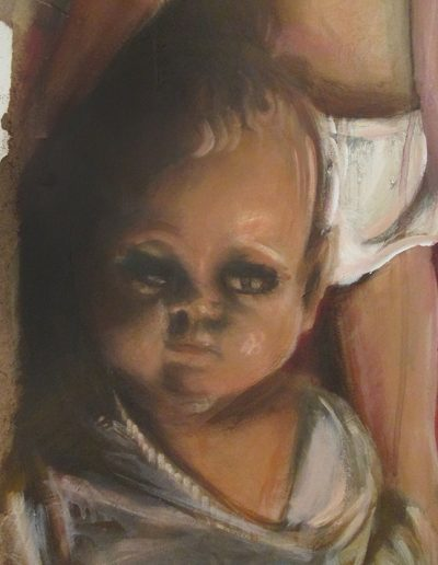 """Diaper Baby"", detail, acrylic on eucaboard, 16x40"", 2017"