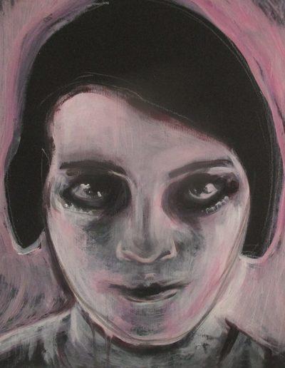 """""""Brigitte Helm"""", detail, acrylic on masonite, 16x16"""", 2018"""
