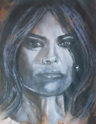 """Melania Trump"", acrylic on Kraft paper, 17x22"", 2017"