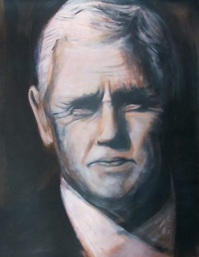 """Mike Pence"", acrylic on Kraft paper, 17x22"", 2017"