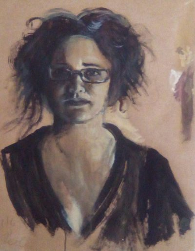 """Käthe Wenzel"", acrylic on paper, 28x34"", 2017"